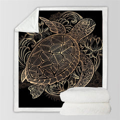 Majestic Golden Sea Turtle Blanket - OceanHelper