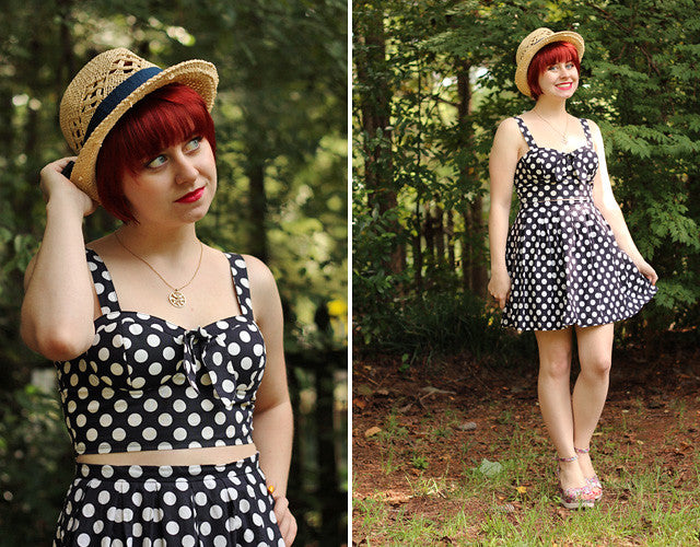 Polka Dot Matching Set with a Straw Hat
