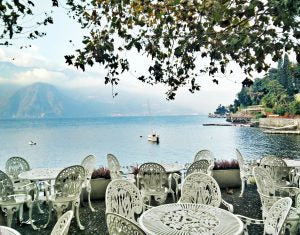 View of Lake Como from a gastro bar - - North Italy