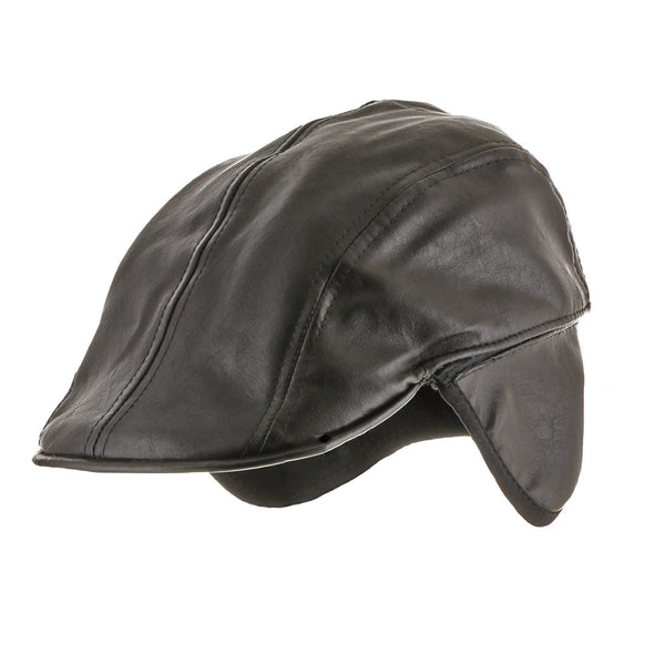 e0c8bc52b7e Ivy Ear Flaps Faux Leather Cap Fleece Lined