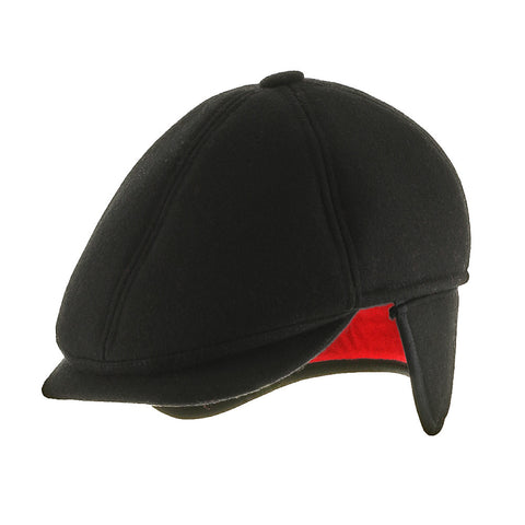 6 Point Wool Newsboy Ivy Earflaps Cap with Fleece Lining - Ultrafino
