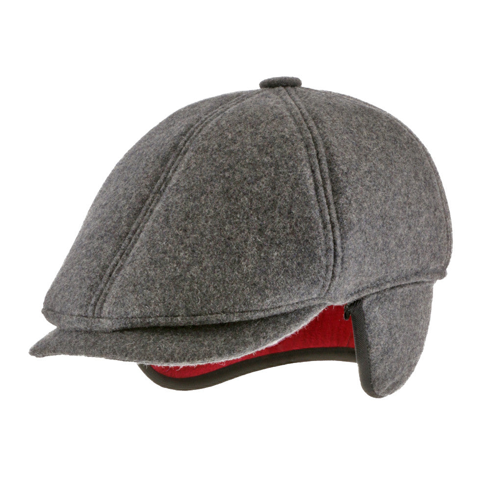 6 Point Wool Newsboy Ivy Earflaps Cap with Fleece Lining - Ultrafino Panama Hat