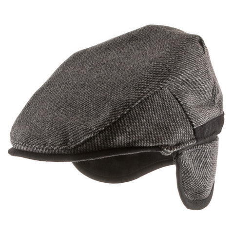Scottish Wool Ivy Newsboy Cap Fleece Ear Flaps - Ultrafino