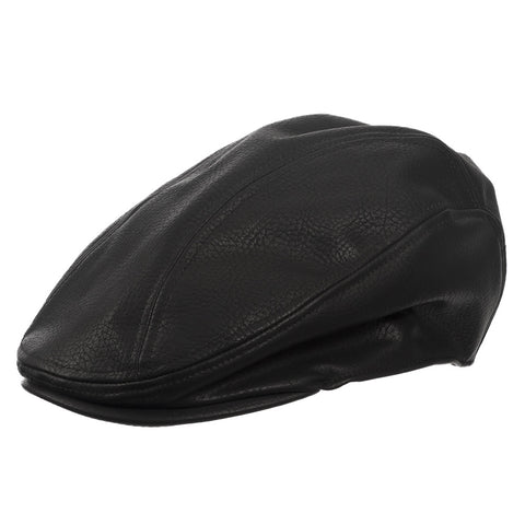 Newsie Faux Leather Ivy Newsboy Cap with Lined Interior - Ultrafino