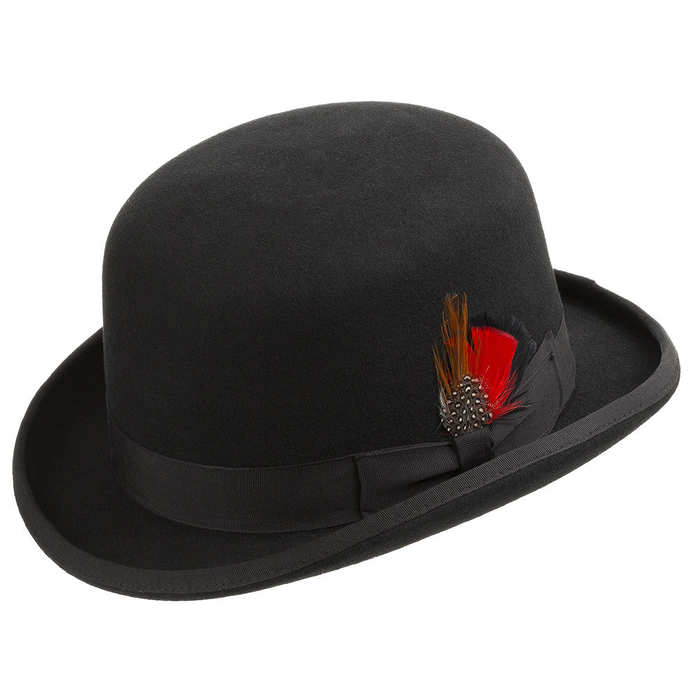01c642a9d Duster Wool Felt Classic Derby Bowler Hat With Feather - Ultrafino