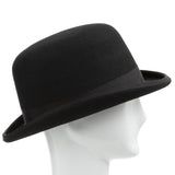 Duster Wool Felt Classic Derby Bowler Hat With Feather - Ultrafino Panama Hat