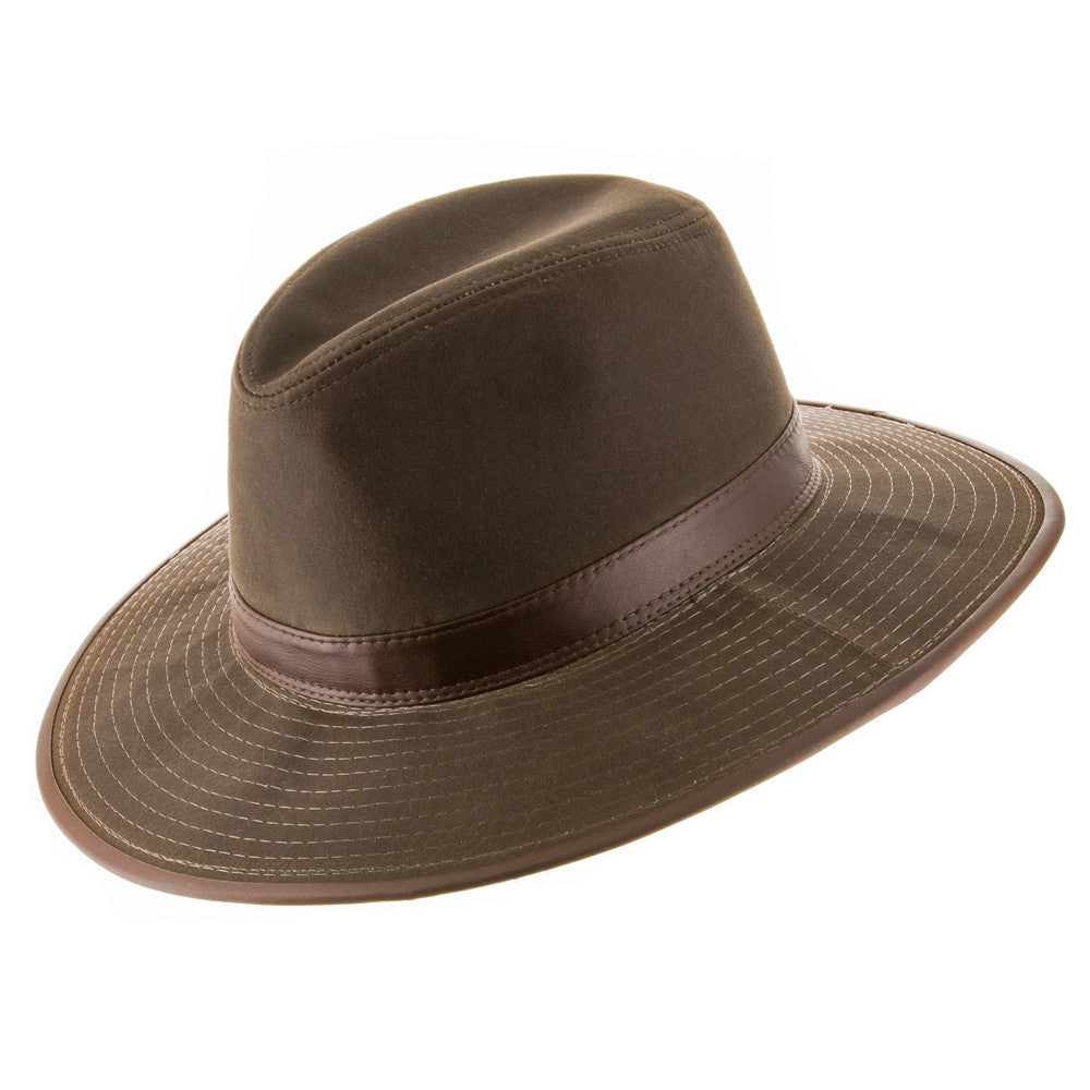 Seattle Oil Cloth Safari Outback Hat with Chin Cord - Ultrafino Panama Hat