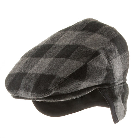 New Jersey Plaid Ivy Cap with Fleece Ear Flaps - Ultrafino Panama Hat