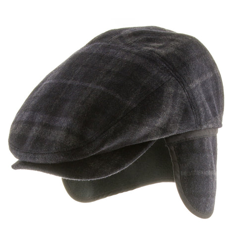 Tusco Wool Plaid Ivy Cap Newsboy Hat with Ear Flaps - Ultrafino Panama Hat