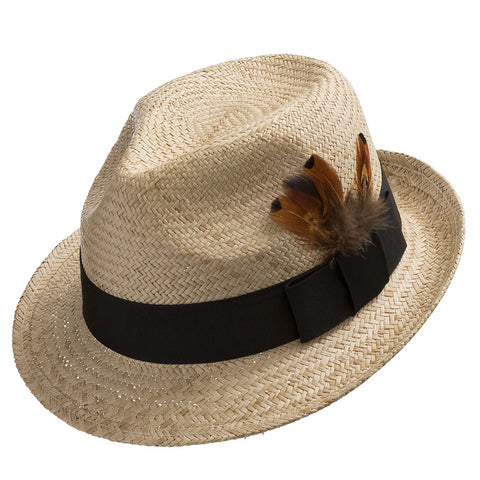 Fedora Sedona Straw Trilby Hat with Feather - Ultrafino