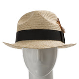 Fedora Sedona Straw Trilby Hat with Feather - Ultrafino Panama Hat