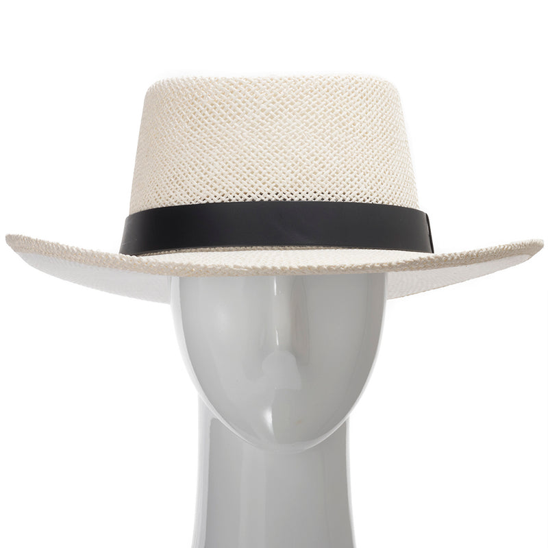 Ivory with Black Leather Hatband