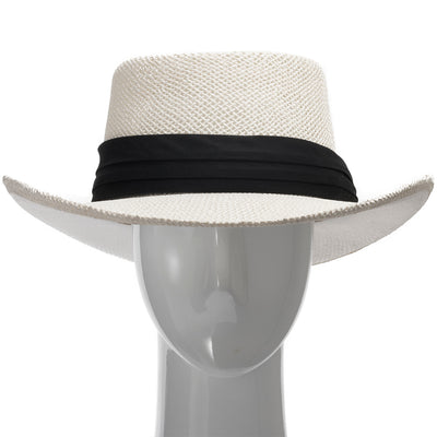 Ivory with Black Pleated Hatband