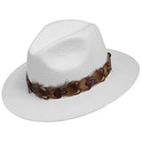 Alda Feather Trim Straw Fedora Hat - Ultrafino Panama Hat