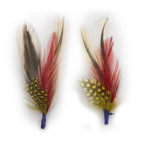 "Exotic 3"" Bird Feathers 1 Pair - Ultrafino Panama Hat"