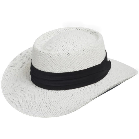 Gambler Vented Wide Brim Straw Hat - Ultrafino Panama Hat