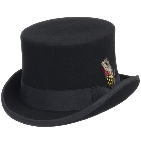 Button Victorian Tall Wool Top Hat - Ultrafino Panama Hat