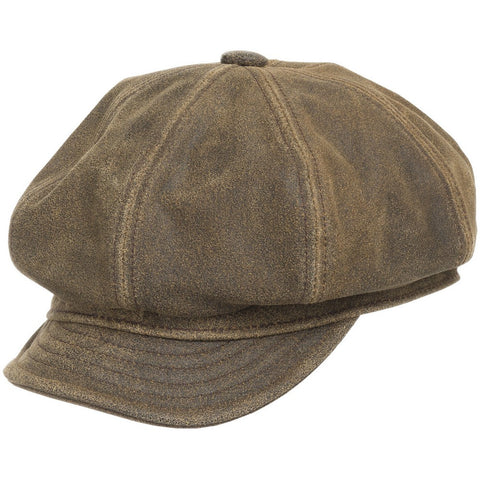 English Newsboy Antique Leather Ivy Cap - Ultrafino Panama Hat