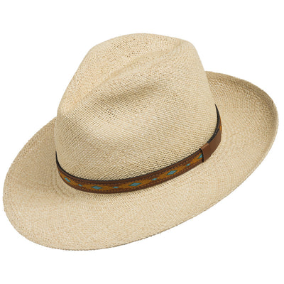 Natural with Turquoise and Leather Patterned Hatband