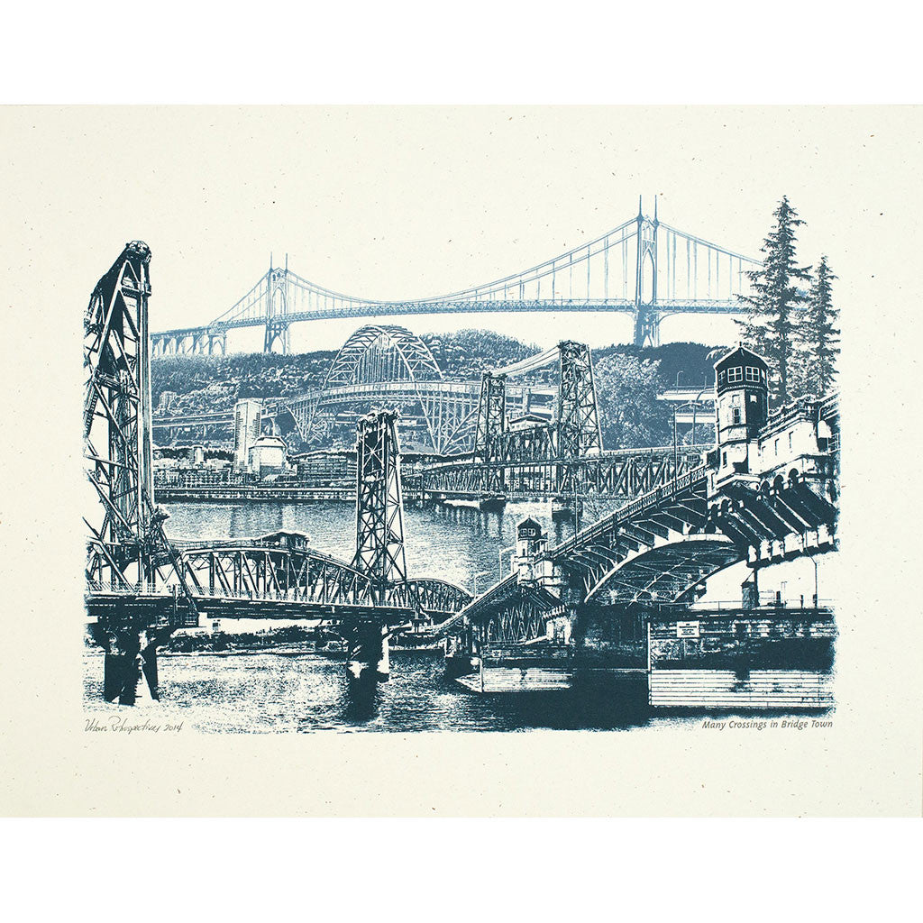 Many Crossings in Bridgetown Portland bridges print