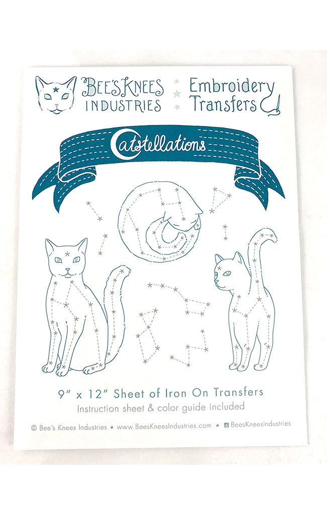 Catstellations Iron-On Embroidery Transfers