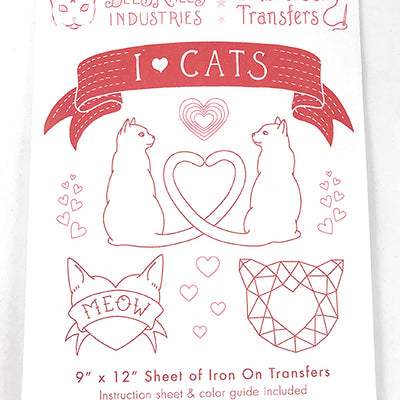 I Heart Cats Iron-On Embroidery Transfers