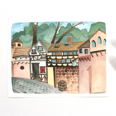 Old European Village Watercolor Print