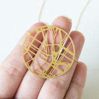 laser cut Portland map necklace