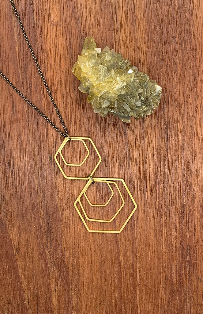 Brass Hexagon Geo Necklace