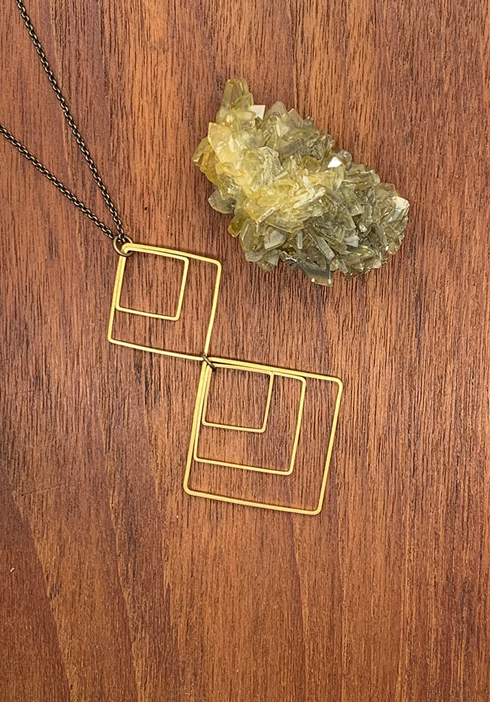 Brass Square Geo Necklace