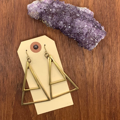 Brass Triangle Geo Earrings