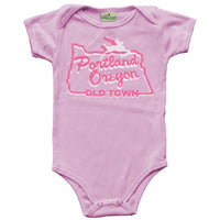 Portland, Oregon white stag sign baby onesie