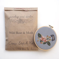 Wild Rose and Moth Cross Stitch Kit