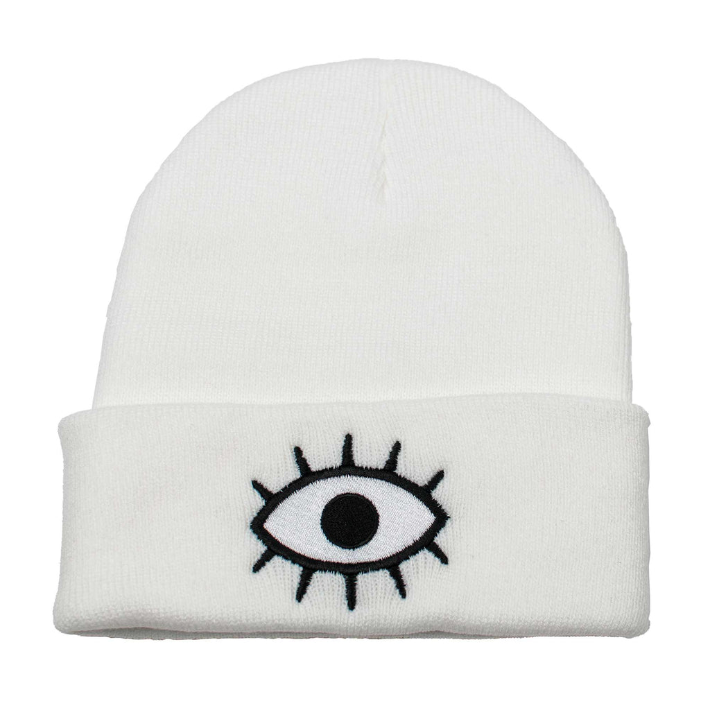 Wokeface third eye beanie - white