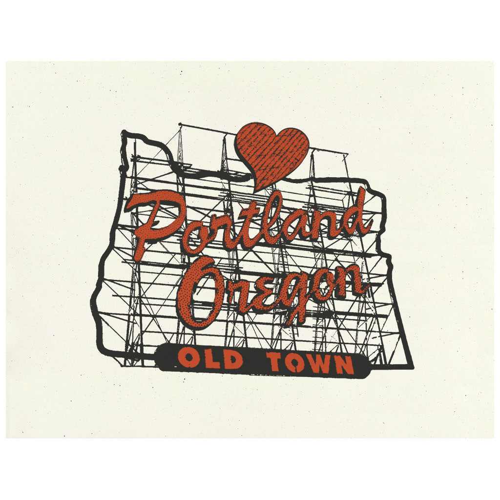 Portland, Oregon Old Town sign with heart art print