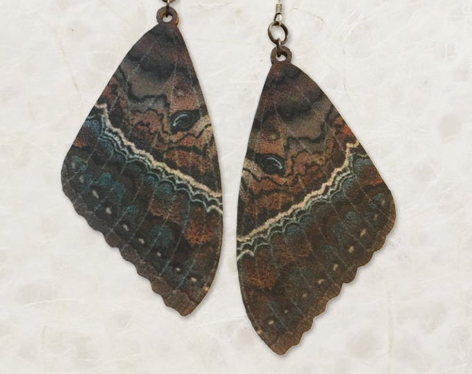 Black Witch Moth Wing Wood Earrings