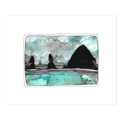 Cannon Beach haystack rock watercolor print