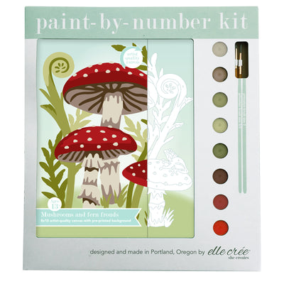 Mushrooms + Fern Fronds Paint by Numbers Kit