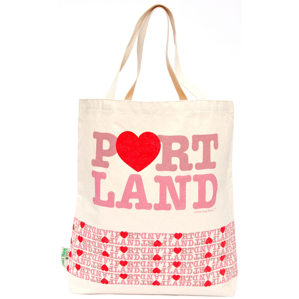 Heart Portland tote bag pink and red