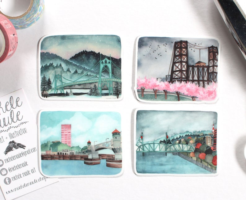 Portland 4 Seasons Bridges Sticker Set