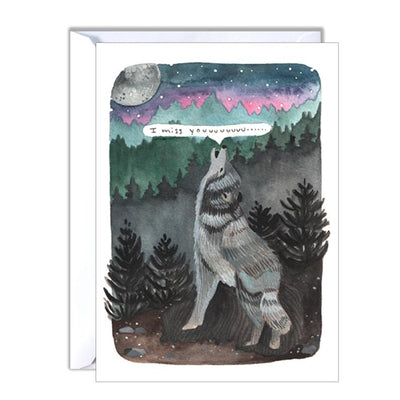 I Miss You Wolf Card