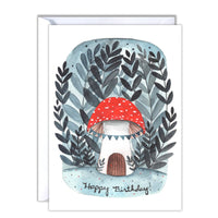 Mushroom House Birthday Card