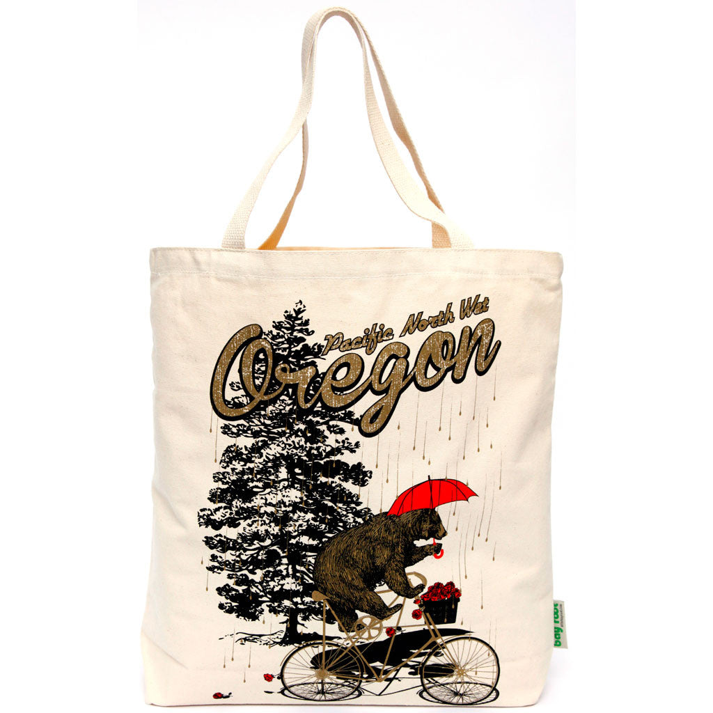 Pacific NorthWet Bear on a bike tote bag