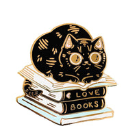Book Stacks Cat Enamel Pin