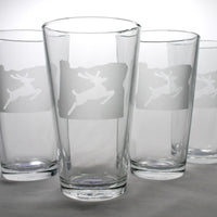 Portland Oregon stag sign pint glasses