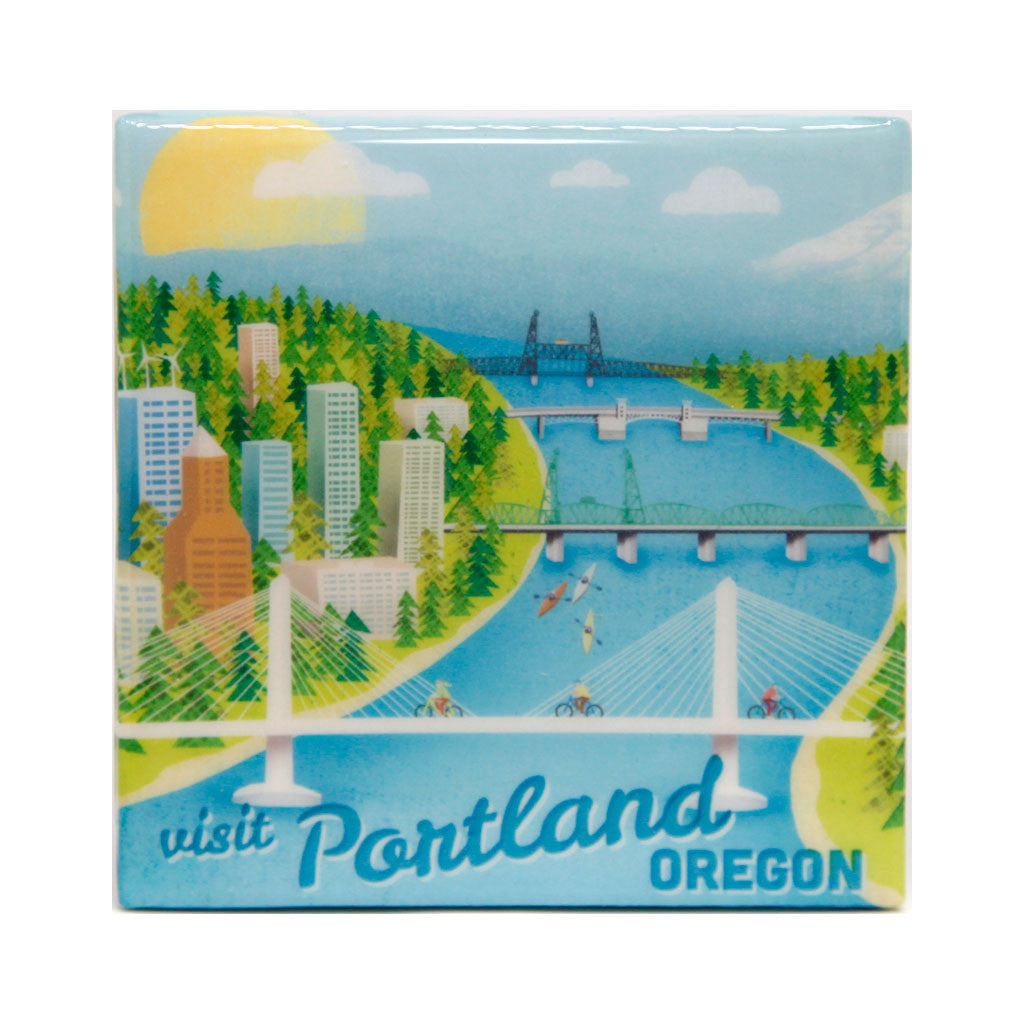 Portland bridges tile coaster