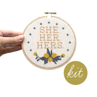 Preferred Pronouns Cross Stitch Kits