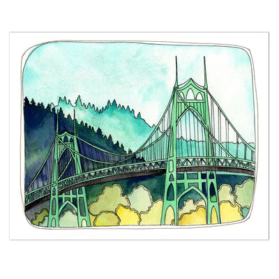 St. Johns bridge watercolor art print