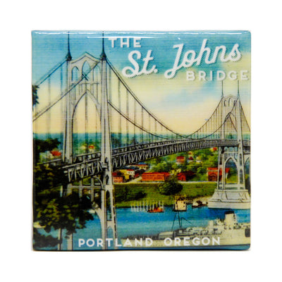 St. Johns Bridge Portland tile coaster