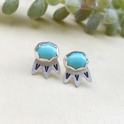 Turquoise Bloom Stud Earrings